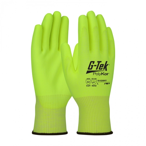 #16-520HY G-Tek® PolyKor™ Hi-Vis Seamless Knit PolyKor™ Blended Glove with Polyurethane Coated Smooth Grip on Palm & Fingers