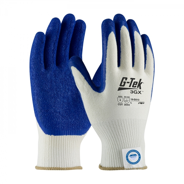 19-D313 PIP® G-Tek® 3GX™ Seamless Knit Dyneema® Diamond Cut Resistant Glove w/ Latex Coated Crinkle Grip