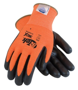 19-D340OR PIP® G-Tek® 3GX® Dyneema® Hi-Viz Orange A4 Cut-Resistant Work Gloves, Diamond Technology, Lime Green with Black Foam Nitrile Palm and Fingertip Coating