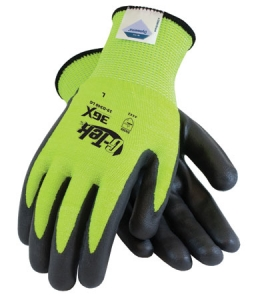 #19-D340LG PIP® G-Tek® 3GX® Dyneema® Hi-Viz Lime Green A4 Cut-Resistant Work Gloves, Diamond Technology, Lime Green with Black Foam Nitrile Palm and Fingertip Coating