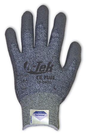 19D650 G-Tek® CR Plus Dyneema® Coated Cut-Resistant Work Gloves, G-Tek® CR Plus, Gray Spun Dyneema® and Nylon Shell, Medium Weight , Gray Coated Palm and Finger Tips, Cut level 3