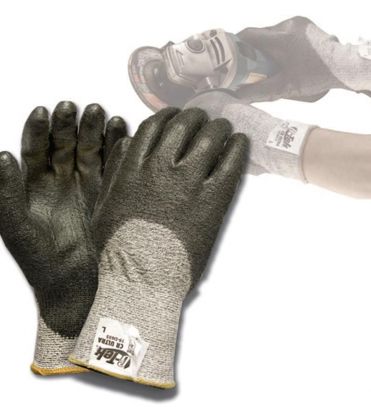 19D655 PIP G-Tek® CR Ultra Dyneema® Coated Cut-Resistant Work Gloves, G-Tek® CR Ultra, Gray Spun Dyneema® and Nylon Shell, Medium Weight, Black Coated Palm and Finger Tips