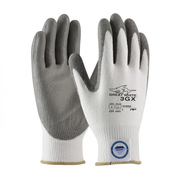 #19-D322 PIP® Great White® 3GX™ Seamless Knit Dyneema® Diamond and Lycra Cut Resistant Glove w/ Smooth Polyurethane Coating Grip