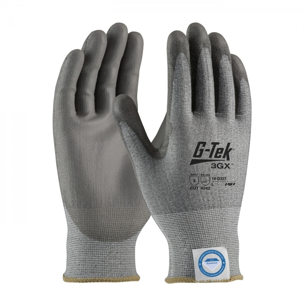 #19-D327 PIP G-Tek® 3GX™ Seamless Knit Dyneema® Diamond Cut Resistant Nylon Glove w/ Polyurethane Coated Smooth Grip