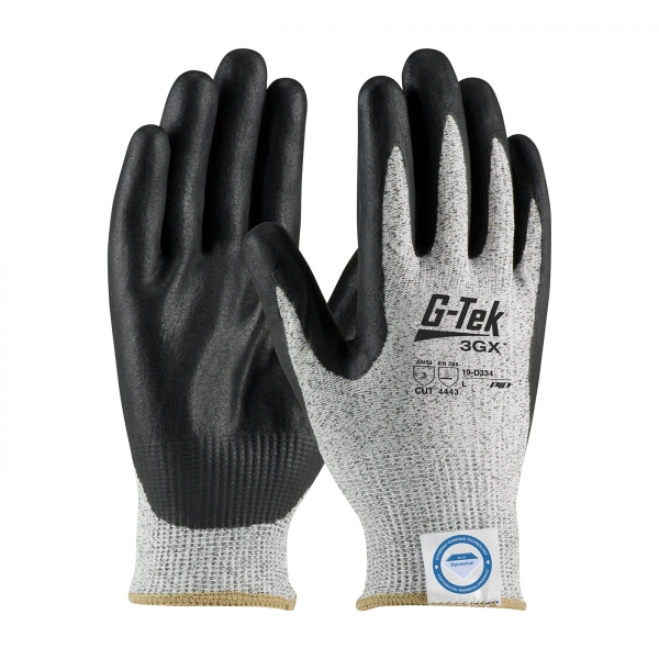 19-D334 PIP G-Tek® 3GX™ Seamless Knit Dyneema® Diamond Blended Cut Resistant Glove w/ Nitrile Coated Foam Grip
