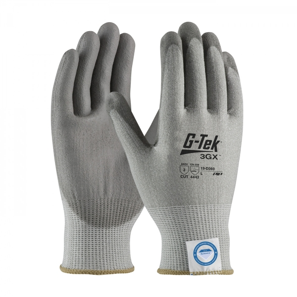 19-D360 PIP G-Tek® 3GX™ Seamless Knit Dyneema® Diamond Cut Resistant Glove w/ Polyurethane Coated Smooth Grip