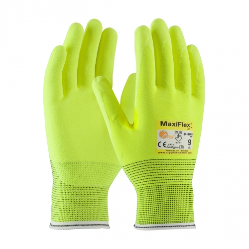 #34-8743FY PIP® MaxiFlex® Cut™ MicroFoam Palm Coated Hi-Vis Seamless Knit Gloves