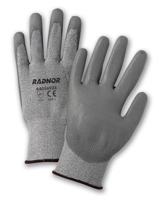 Coated HPPE Cut Resistant Gloves, Gray, Economy Coated Cut-Resistant HPPE String Knit Work Gloves, cut level 2