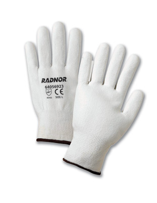 Coated HPPE Cut Resistant Gloves, White, Economy Coated Cut-Resistant HPPE String Knit Work Gloves, cut level 2