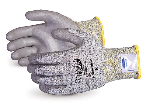 S13SXGPUQ Superior® Touch® Grey 13-Gauge Economy Knit Cleanroom Cut Resistant Work Gloves with Dyneema® & Polyurethane Palms