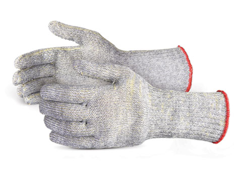 #SCX4D6C Superior Glove® Emerald CX® 7-Gauge Cut Resistant Slabber Work Gloves with PVC Dots and 6-inch knit wrist cuffs