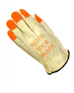 68-165HV PIP Cowhide Driver's Work Gloves w/ Hi-Viz Finger Tips & Imprinted Warning on Back