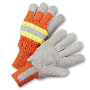 Thinsulate® Lined Cold Weather Gloves, MDS Economy Hi-Vis Thinsulate® Pigskin Leather Work Gloves w/ Knit Wrist