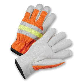 Hi-Viz Orange Grain Cowhide Unlined Drivers Gloves