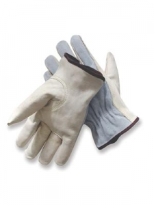 MDS Economy Split Cowhide Leather Driver's Gloves w/ Kevlar Stitching