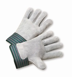 Select Shoulder Grade Split Leather Palm Gloves,  MDS Economy Full Leather Back Gloves w/ Safety Cuff