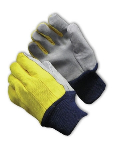 Select Shoulder Grade Split Leather Palm Gloves, MDS Economy Leather Palm Work Gloves w/ Knit Wrist