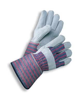 Select Shoulder Grade Split Leather Palm Gloves,  MDS Economy Leather Palm Work Gloves w/ Gauntlet Cuff