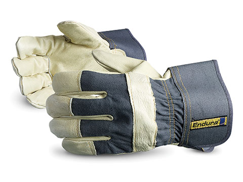 Superior Glove® Endura® Pigskin Leather Fitters Gloves with Safety Cuffs & Knuckle Strap #76PB