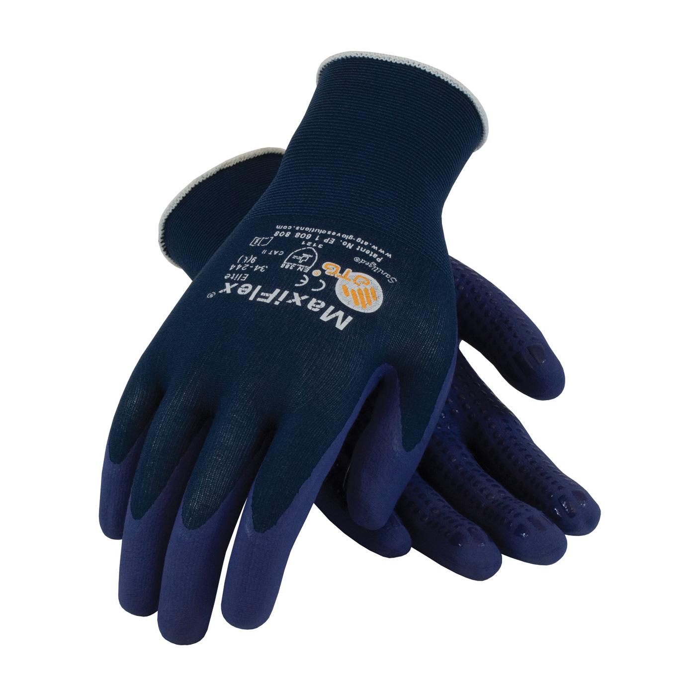 #34-244 MaxiFlex® Elite™ Nylon Gloves feature a nitrile dotted palm with a blue palm and fingertip coating
