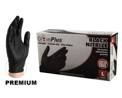 #GPNB AMMEX GlovePlus Black Nitrile Industrial PF Disposable Gloves