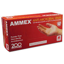 #AAMV4 Ammex Anti-Microbial Disposable Vinyl Food Service Gloves