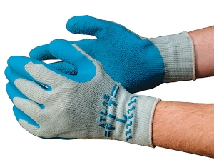 300 Showa® Atlas Fit® 300 Blue Latex Coated Protective Gray Knit Gloves