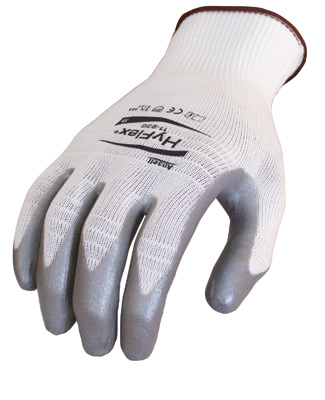 11830 Ansell® HyFlex® 11-830 Metallic Nitrile Coated Protective White Nylon Knited Gloves