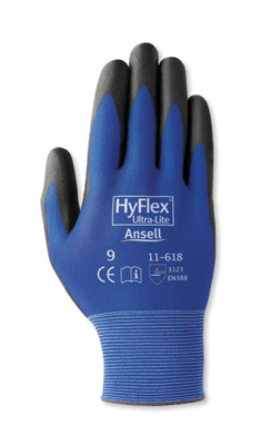 Ansell HyFlex® Multi-Purpose Black Coated Work Gloves, 11618 Ansell® HyFlex® 11-618 Protective Gloves