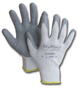 11800 Ansell® HyFlex® 11-800 Gray Foam Nitrile Coated White Nylon Knit Protective Gloves
