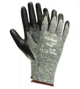 11801 Ansell® HyFlex® 11-801 Black Foam Nitrile Palm Coated Protective Gray Nylon Knitted Gloves