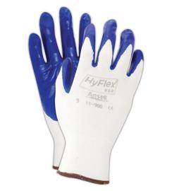 11900 Ansell® HyFlex® 11-900 Blue Nitrile Palm Coated Protective White Nylon Knited Work Gloves