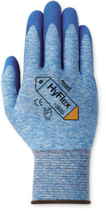 11920 Ansell® HyFlex® 11-920 Blue Nitile Palm Coated Protective Blue Heather Nylon Knitted Work Gloves