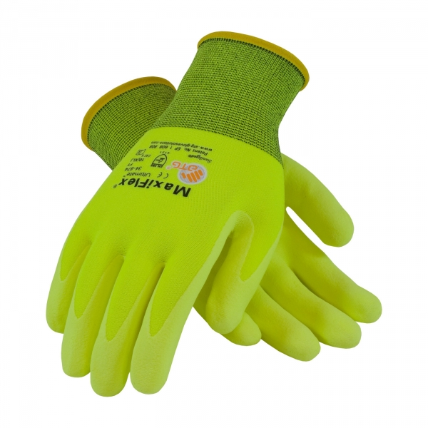 #34-874FY PIP® MaxiFlex® Ultimate™ Hi-Vis Lime Yellow ATG® Foam Nitrile Palm Dipped Gloves