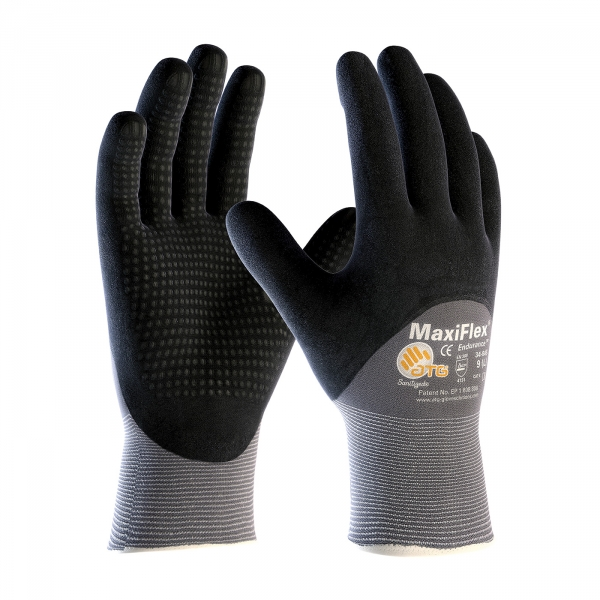PIP MaxiFlex® Endurance Seamless Knit Nylon Glove with Nitrile Coated MicroFoam Grip on Palm, Fingers & Knuckles - Micro Dot Palm #34-845