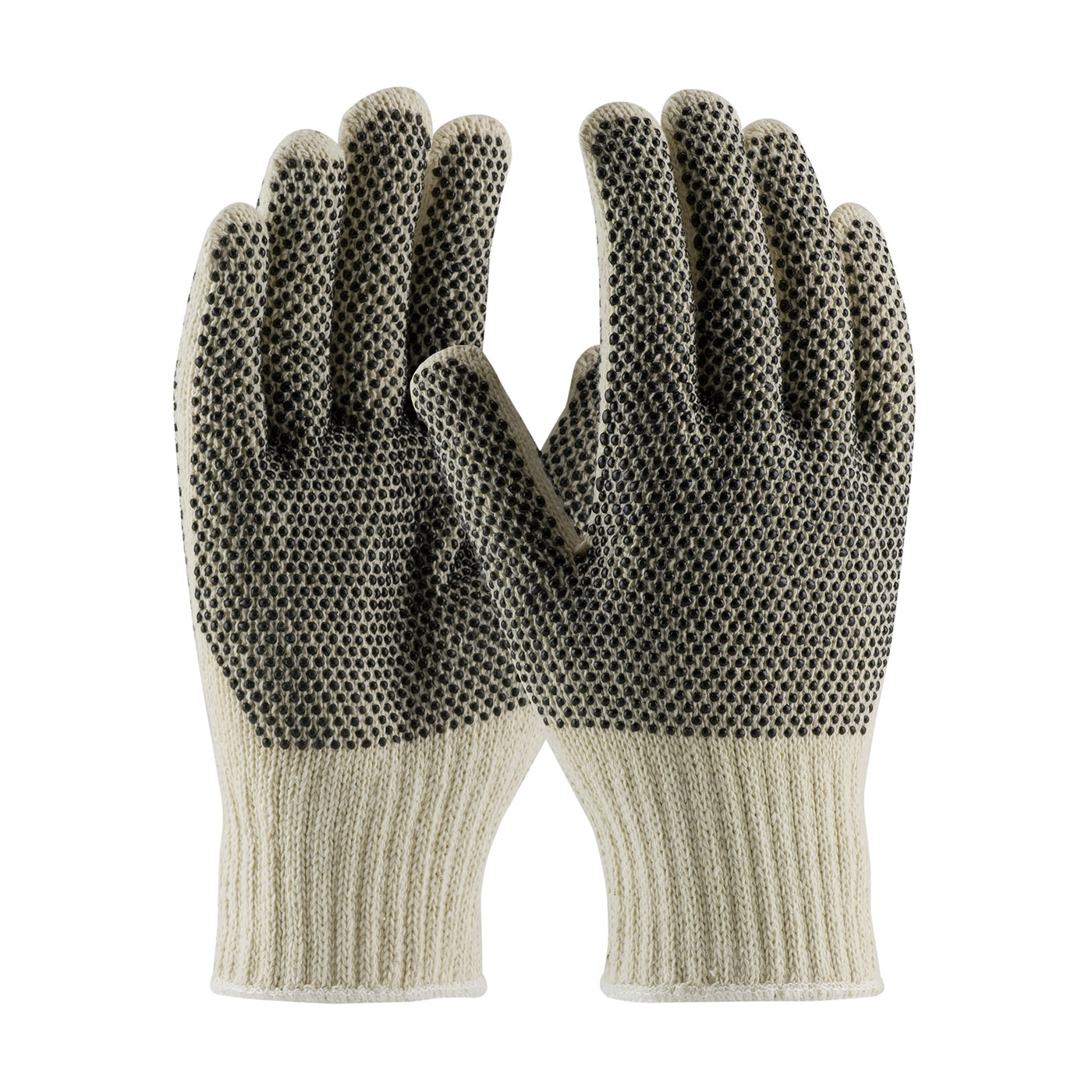 Cotton Poly Double Sided Pvc Palm Dotted Knit Gloves