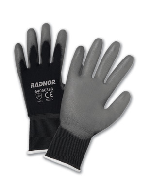 Economy Polyurethane Palm Coated Black Nylon Gloves