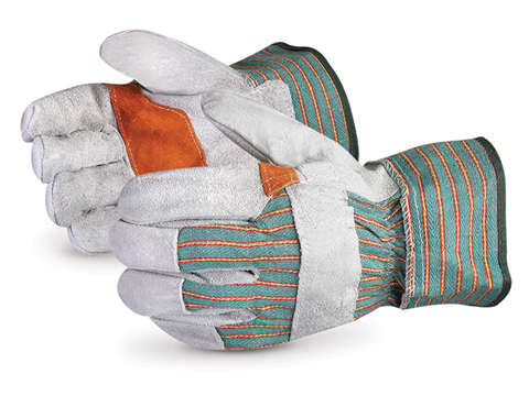Superior Glove® Crewmate® Double-Palm Split Leather Fitters Gloves w/ Safety Cuff #66BD