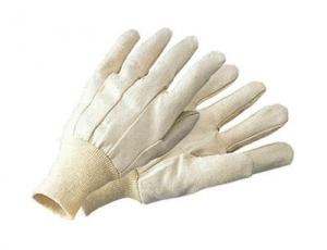 Cotton Canvas Gloves With Knitwrist
