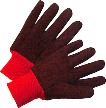 13 Ounce 100% Cotton Jersey Gloves With Red Knitwrist And Red 100% Cotton Fleece Lining