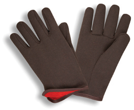 MDS Economy Brown Cotton Jersey Gloves w/ Fleece Lining