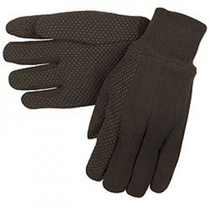 Economy 9-oz Brown Jersey Work Gloves w/ PVC Dots