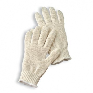 Natural Heavy Weight Polyester/Cotton Seamless String Gloves With Knit Wrist