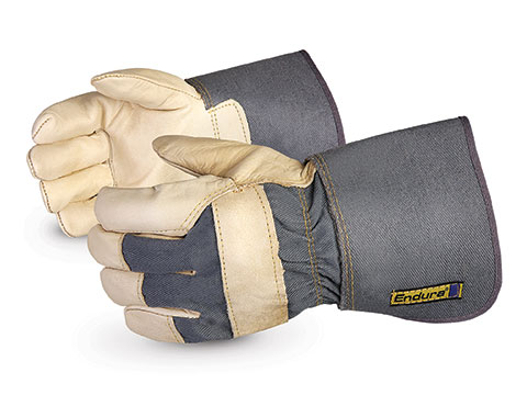 Superior Glove® Endura® Cowgrain Leather Fitters Work Gloves w/ Rubberized Cuff #76GR