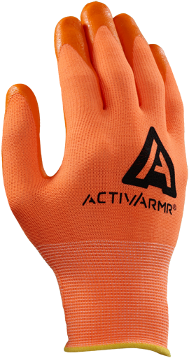 97-012 Ansell ActivArmr® 15 Gauge Hi-Viz Orange Nitrile Palm Coated Work Glove