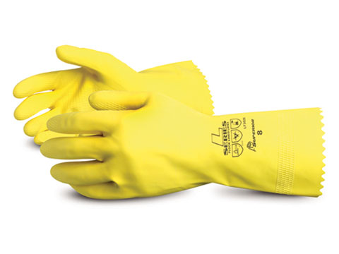 #LF3020 Superior Glove® Chemstop™ 16-mil Yellow Flock-Lined Latex Chemical-Resistant Glove