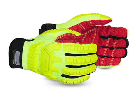#MXHV5VSB Superior® Glove Clutch Gear® Anti-Impact Hi-Viz Yellow Back Mechanics Oilfield Glove w/ Cut-Resistant Palms