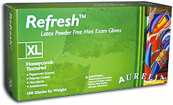 Aurelia® Refresh™ Disposable powder-Free Mint Latex Exam Gloves