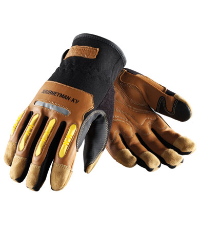 JOURNEYMAN `New-Tech` Drivers Style, Brown Reinforced Goatskin Leather Palm, TPR Padded Fingers, Hook & Loop Closure