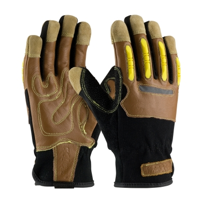 Maximum Safety® Journeyman KV Workman's Anti-Impact Leather Drivers Gloves w/ TPR Knuckle Guards & PVC Palm Pads, Reflective Tape : MDS Associates